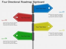 Four Directional Roadmap Signboard Flat Powerpoint Design