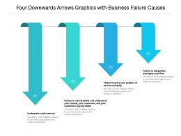 Four Downwards Arrows Graphics With Business Failure Causes