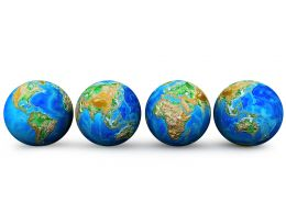 Four Earth Globes Stock Photo