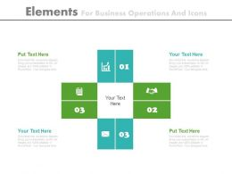 Four Elements For Business Operations And Icons Flat Powerpoint Design