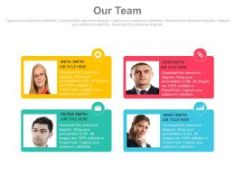 Four Employee Photo Tags For Introduction Powerpoint Slides