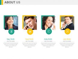 Four Employees For Business Profile About Us Powerpoint Slides