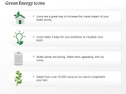 Four Energy Icons Bulb Home Dustbin And Plant Editable Icons
