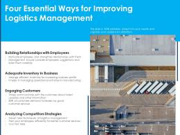 Four Essential Ways For Improving Logistics Management