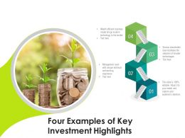 Four Examples Of Key Investment Highlights
