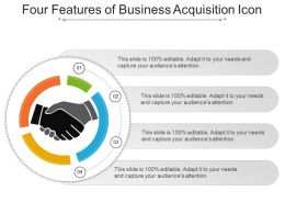 Four Features Of Business Acquisition Icon Presentation Images