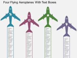 four_flying_aeroplanes_with_text_boxes_flat_powerpoint_design_Slide01