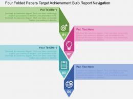 Four Folded Papers Target Achievement Bulb Report Navigation Flat Powerpoint Design