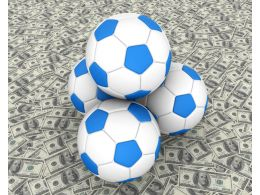 Four Footballs With Dollar Background Stock Photo