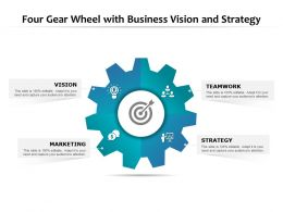 Four Gear Wheel With Business Vision And Strategy