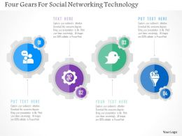 Four Gears For Social Networking Technology Flat Powerpoint Design