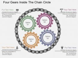 Four Gears Inside The Chain Circle Flat Powerpoint Design