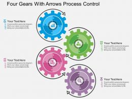 Four Gears With Arrows Process Control Flat Powerpoint Design