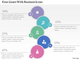 Four Gears With Business Icons Flat Powerpoint Design