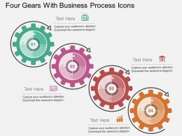 Four Gears With Business Process Icons Flat Powerpoint Design