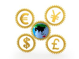 Four Gears With Currency Symbols With Globe Stock Photo