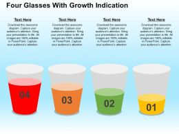 Four Glasses With Growth Indication Flat Powerpoint Design