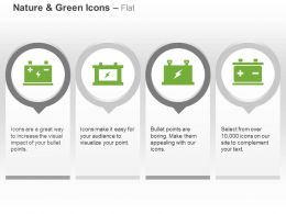 Four Green Energy Batteries Power Sources Ppt Icons Graphics