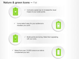 Four Green Energy Cells Ppt Icons Graphics