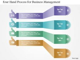 Four Hand Process For Business Management Powerpoint Templates