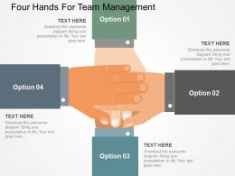 Four Hands For Team Management Flat Powerpoint Design
