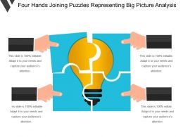 Four Hands Joining Puzzles Representing Big Picture Analysis