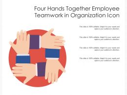 Four Hands Together Employee Teamwork In Organization Icon