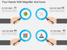 Four Hands With Magnifier And Icons Flat Powerpoint Design