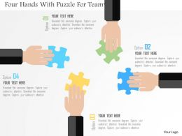 Four Hands With Puzzle For Teamwork Flat Powerpoint Design