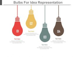 Four Hanging Bulbs For Idea Representation Powerpoint Slides