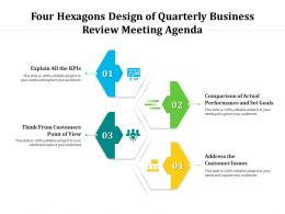 Four Hexagons Design Of Quarterly Business Review Meeting Agenda