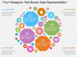 Four Hexagons Text Boxes Data Representation Flat Powerpoint Design