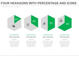 Four Hexagons With Percentage And Icons Powerpoint Slides