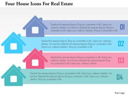 Four House Icons For Real Estate Flat Powerpoint Design