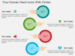 Four Human Hand Icons With Circles Flat Powerpoint Design