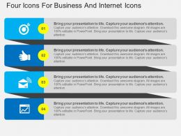 Four Icons For Business And Internet Icons Flat Powerpoint Design