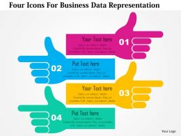 Four Icons For Business Data Representation Flat Powerpoint Design