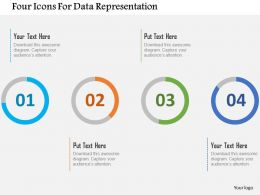 Four Icons For Data Representation Flat Powerpoint Design