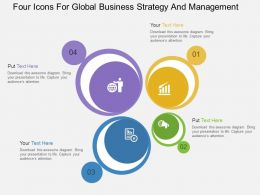 Four Icons For Global Business Strategy And Management Flat Powerpoint Design