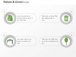 Four Icons For Green Energy Water Air Paper And Waste Management Editable Icons