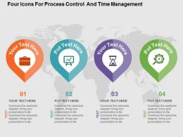 Four Icons For Process Control And Time Management Ppt Presentation Slides
