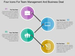 Four Icons For Team Management And Business Deal Flat Powerpoint Design