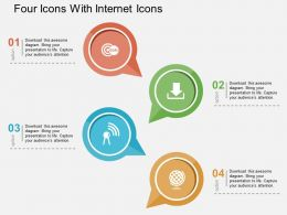 Four Icons With Internet Icons Flat Powerpoint Design