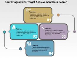 Four Infographics Target Achievement Data Search Flat Powerpoint Design