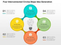 Four Interconnected Circles Steps Idea Generation Flat Powerpoint Design