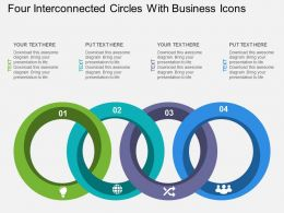 Four Interconnected Circles With Business Icons Flat Powerpoint Design