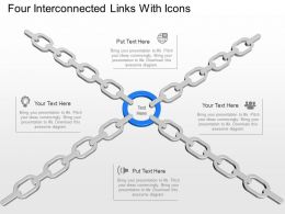 Four Interconnected Links With Icons Powerpoint Template Slide