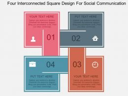 Four Interconnected Square Design For Social Communication Flat Powerpoint Design