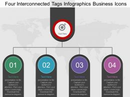 Four Interconnected Tags Infographics Business Icons Flat Powerpoint Desgin