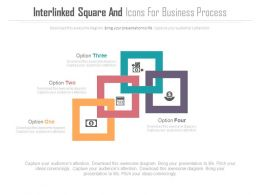 Four Interlinked Square And Icons For Business Process Flat Powerpoint Design